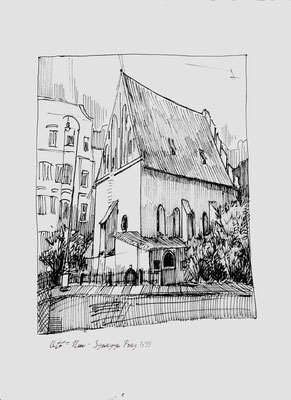 Alt-Neu-Synagoge (Prag), Bleistift, Papier