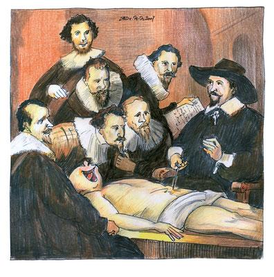 """Rembrandt fertigte hier eine erste Skizze zu seinem Bild """"Dr. Tulp entdeckt die Zwerchfellreizung""""."""