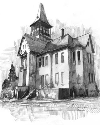 Loensche Villa (Görlitz), Bleistift, Papier, A4, noch nicht gemalt