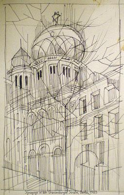 Synagoge Oranienburger Straße, Bleistift, Papier, A4