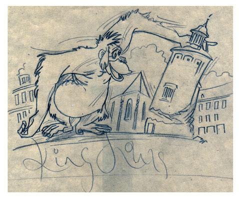 Dschungelbuch - der Affe King Louis auf dem Görlitzer Marienplatz