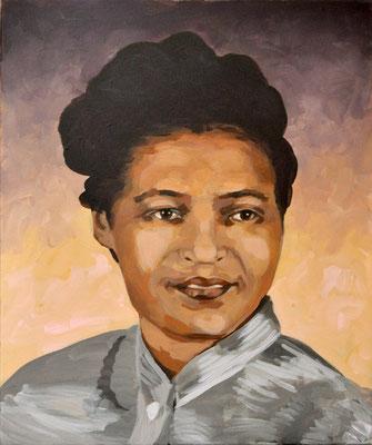 Asta Rode, Acryl auf Leinwand, 50 x 60 cm, Rosa Parks, 2019