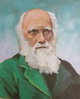 Asta Rode, Acryl auf Leinwand, 50 x 60 cm, Charles Darwin, 2019