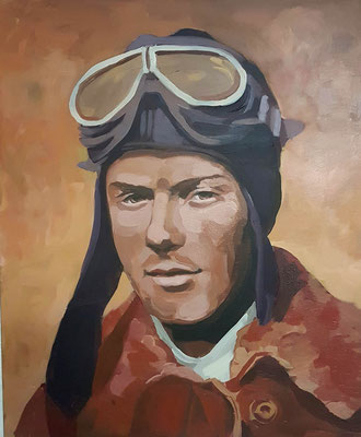 Asta Rode, Acryl auf Leinwand, 50 x 60cm, Charles Lindbergh, 2019