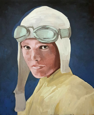 Asta Rode, Acryl auf Leinwand, 50 x 60cm, Amelia Earhart, 2018