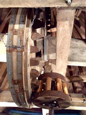 Le mécanisme du moulin de Cussol
