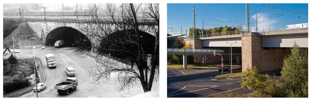 Gotha Bahnhof Viadukt DDR 1978 / 2014 - DDR 80'er Jahre im Vergleich zu heute - Gotha Gestern und Heute