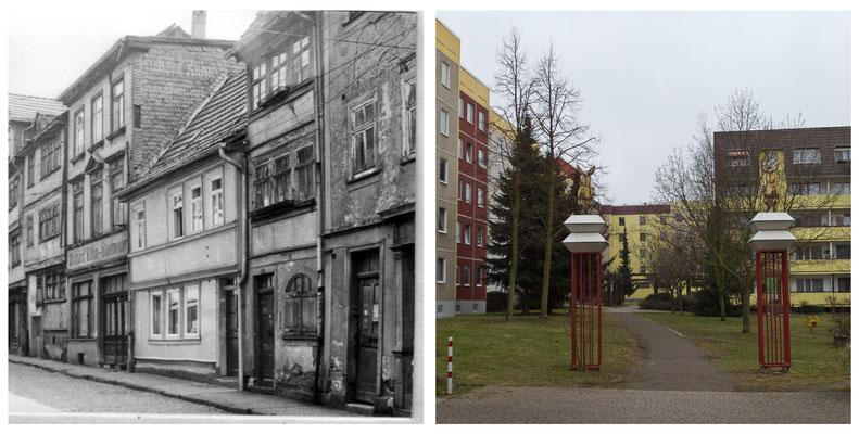 Grethengasse Gotha DDR 1978 / 2012 - DDR 80'er Jahre im Vergleich zu heute - Gotha Gestern und Heute