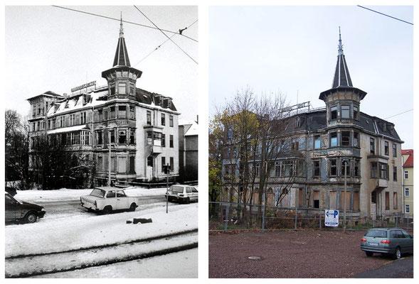 Gotha Bahnhofsvorplatz Bahnhofshotel DDR 90er Jahre / 2014 - DDR 80'er Jahre im Vergleich zu heute - Gotha Gestern und Heute