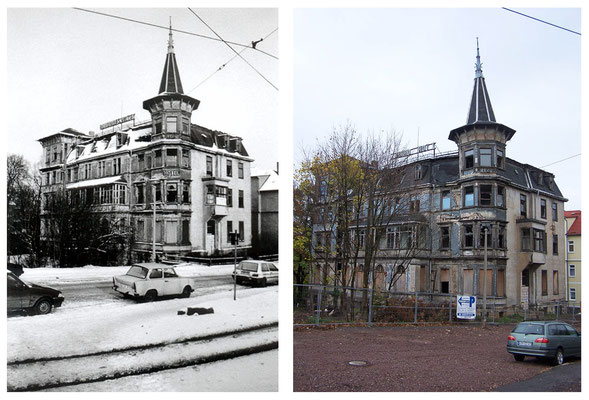 Gotha Bahnhofsvorplatz Bahnhofshotel DDR 90er Jahre / 2014 - DDR 80'er Jahre im Vergleich zu heute - Gotha Gestern und Heute - Bild rechts: Ralf Gunkel (www.ralf-gunkel.de)