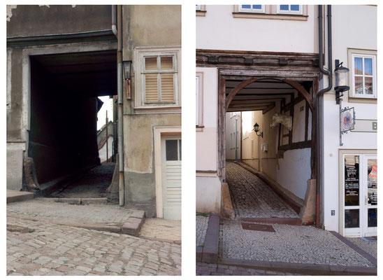 Die Schlossgasse in Gotha / Thüringen 1979 / 2010 - DDR 80'er Jahre im Vergleich zu heute - Gotha Gestern und Heute