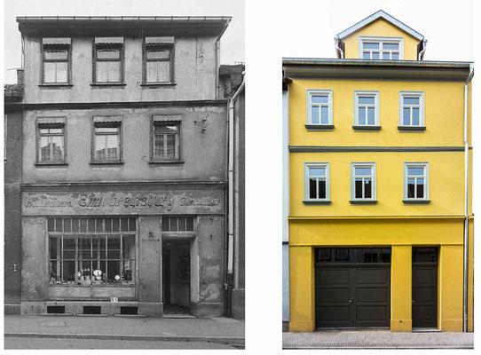 Gotha - Mönchelsstraße DDR 80'er Jahre / 2013 - Quelle: http://www.deutschefotothek.de - DDR 80'er Jahre im Vergleich zu heute - Gotha Gestern und Heute