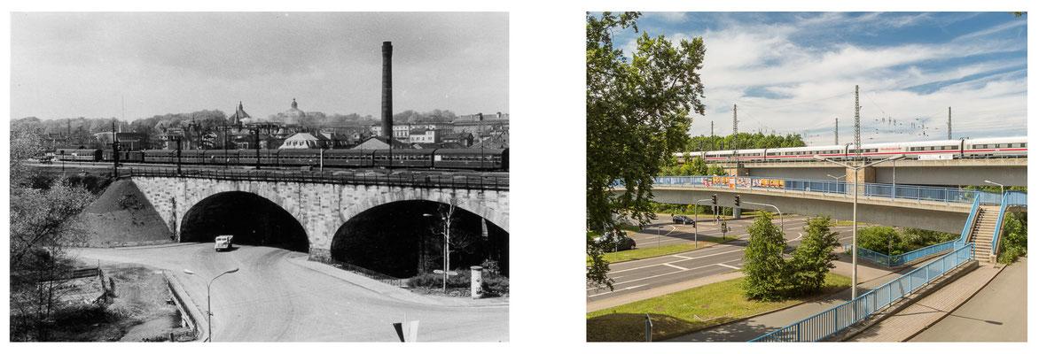 Gotha Bahnhof Viadukt DDR 80er Jahre / 2014 - DDR 80'er Jahre im Vergleich zu heute - Gotha Gestern und Heute
