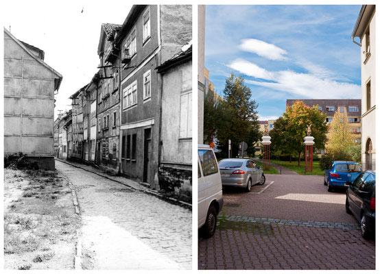 Grethengasse Gotha DDR 1978 / 2010 - DDR 80'er Jahre im Vergleich zu heute - Gotha Gestern und Heute