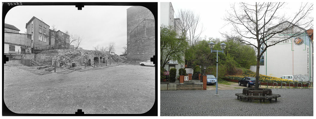 Gotha Brühl Stadtbefestigung 80er Jahre / 2014 - Quelle: Deutsche Fotothek - DDR 80'er Jahre im Vergleich zu heute - Gotha Gestern und Heute