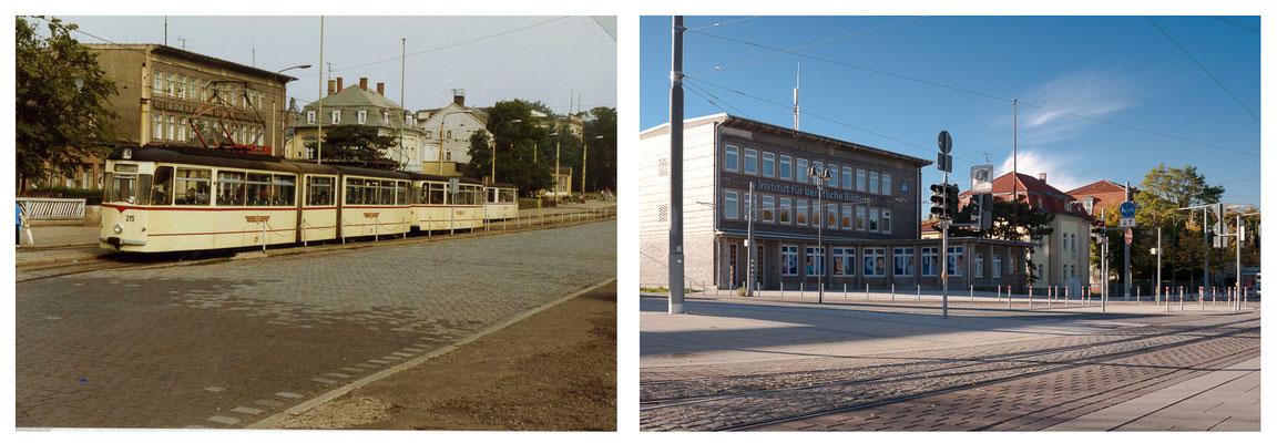 Gotha Bahnhofsvorplatz 1989 - DDR 80'er Jahre im Vergleich zu heute - Gotha Gestern und Heute