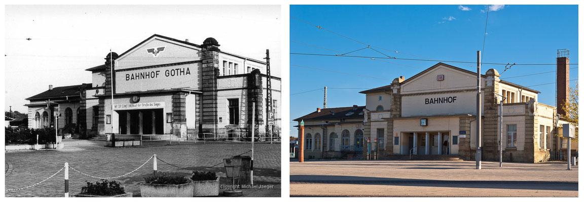 Gotha Bahnhof 80er Jahre / 2014 - DDR 80'er Jahre im Vergleich zu heute - Gotha Gestern und Heute