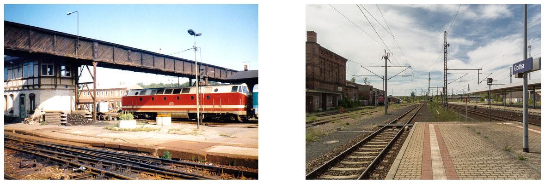 Gotha Bahnhof 80er Jahre / 2014 - Quelle: Peter Kalbe - DDR 80'er Jahre im Vergleich zu heute - Gotha Gestern und Heute