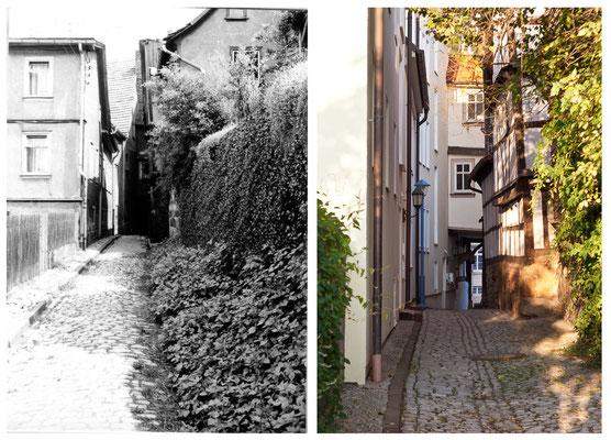 Die Schlossgasse in Gotha / Thüringen 1978 / 2010 - DDR 80'er Jahre im Vergleich zu heute - Gotha Gestern und Heute