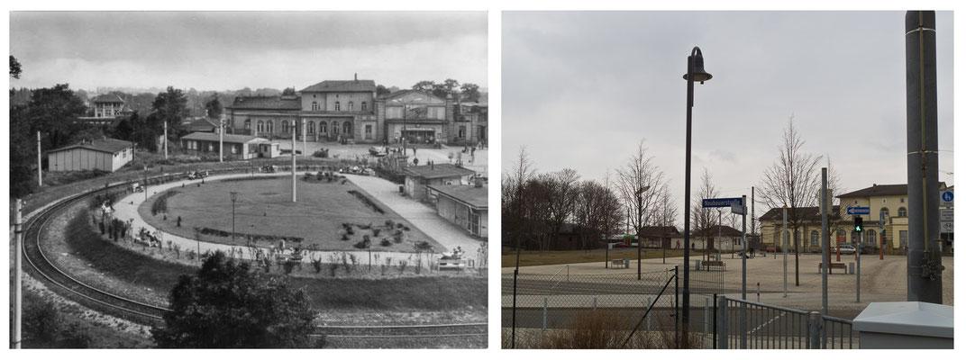 Gotha Bahnhofsvorplatz Bahnhofshotel DDR 70er Jahre / 2014 - DDR 80'er Jahre im Vergleich zu heute - Gotha Gestern und Heute