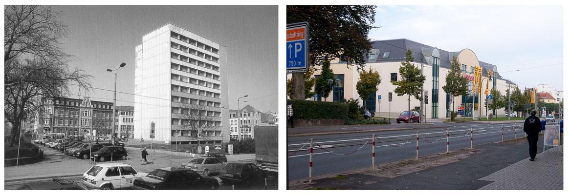 Gotha - Ekhofplatz / Leninplatz 1990 / 2012 - Fotograf unbekannt - DDR 80'er Jahre im Vergleich zu heute - Gotha Gestern und Heute