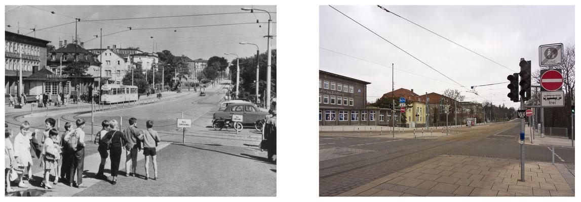 Gotha Bahnhofsvorplatz DDR 1964 / 2014 - DDR 80'er Jahre im Vergleich zu heute - Gotha Gestern und Heute