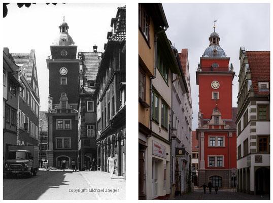 Gotha - Buttermarkt / Hünersdorfstrasse - 1982 / 2010 - DDR 80'er Jahre im Vergleich zu heute - Gotha Gestern und Heute