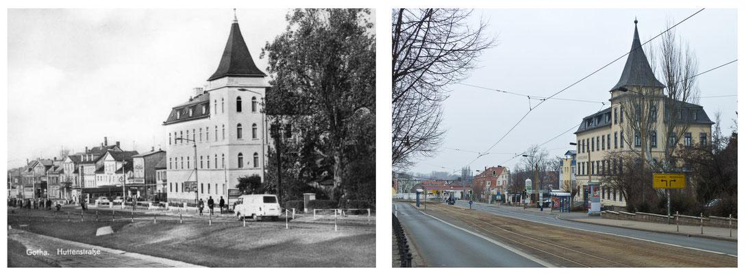 Gotha - Huttenstrasse 1974 / 2012 - DDR 80'er Jahre im Vergleich zu heute - Gotha Gestern und Heute