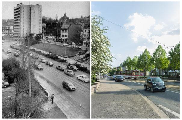 Gotha - Ekhofplatz 80er Jahre / 2014 - Quelle: Broschüre Gotha Das Tor zum Thüringer Wald - DDR 80'er Jahre im Vergleich zu heute - Gotha Gestern und Heute