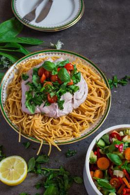 legume pasta with vegan cream cheese