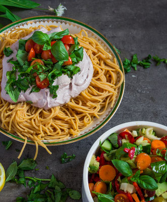 creamy sauce with gluten free legume pasta