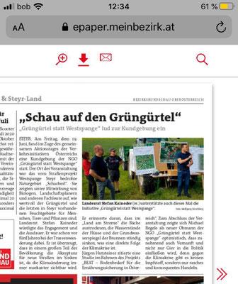Beitrag Bezirksrundschau zur Veranstaltung Schau auf den Grüngürtel