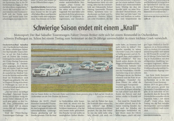 """Lippische Landeszeitung Lokalsport Motorsport 2020 Schwierige Saison endet mit einem """"Knall"""""""