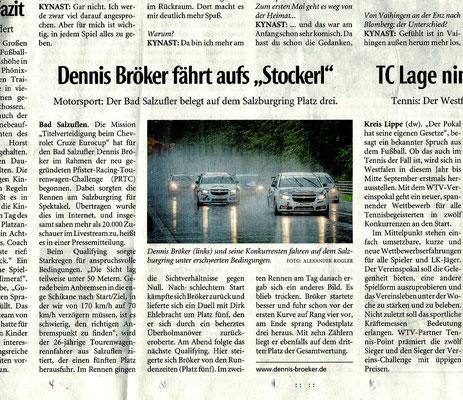 """Lippische Landeszeitung Lokalsport Motorsport 2020 Dennis Bröker fährt aufs """"Stockerl"""""""