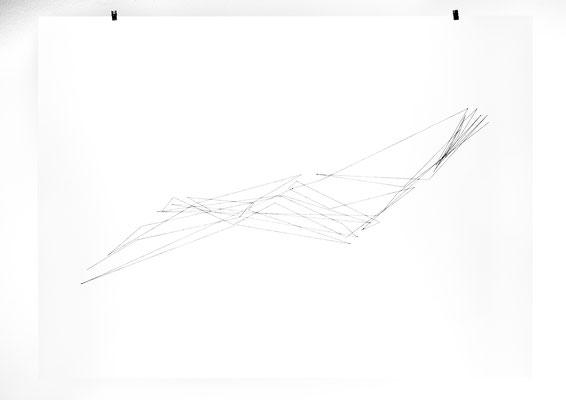 Beate Gärtner | Fadenzeichnung nach Höhenmeter | 2017 | paper_ thread | back side | 69x95cm |  Foto@Bernhard Rieks