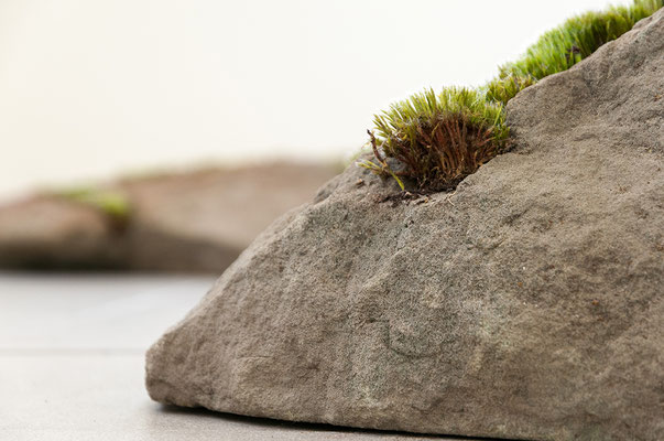 Beate Gärtner | Fragmente | 2014 | sandstone_moss | 2-part_ 30x46x70cm and 20x50x65cm | Foto@René Sikkes