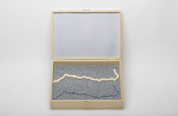 Beate Gärtner | Datenkoffer für meinen Arbeitsweg | 2017 | wooden box with metal fitting_ felt_wood_ wire_varnish_ thread_ graph paper | 9x3425cm |  Foto@Bernhard Rieks