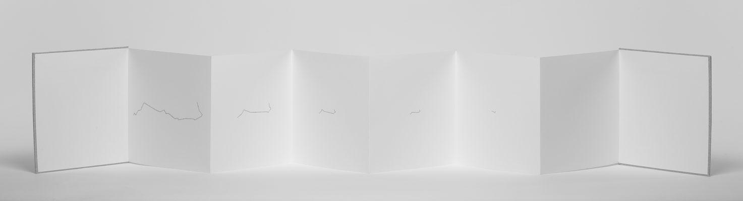 Beate Gärtner | Der Zoomfaktor bestimmt die Information | 2017 |  fanfold_thread_backside| 22x176cm | Foto@Bernhard Rieks
