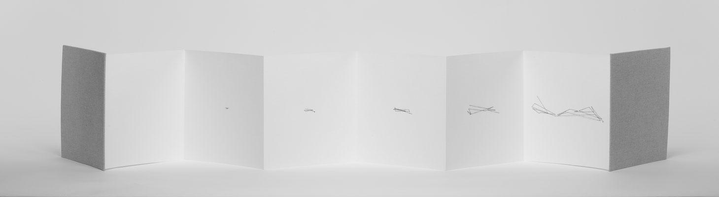 Beate Gärtner | Der Zoomfaktor bestimmt die Information | 2017 | fanfold_thread_ frontside| 22x176cm | Foto@Bernhard Rieks