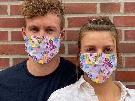 "Motiv ""Butterfly"" / ""GRIMASKE"" antivirale Atemschutzmaske - https://www.krawatten-tuecher-schals-werbetextilien.de/"