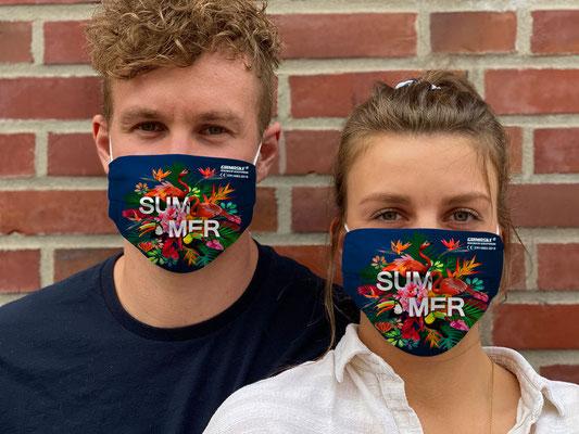 """Motiv """"Summer"""" / """"GRIMASKE"""" antivirale Atemschutzmaske - https://www.krawatten-tuecher-schals-werbetextilien.de/"""