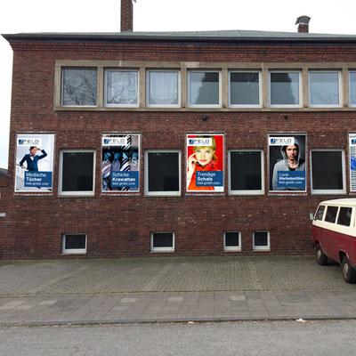 Werbebanner Fassadenwerbung Außenbereich PVC Mesh mit Bannerrahmen von Feld Textil GmbH Krefeld