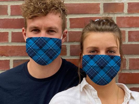 "Motiv ""Tartan Scotland"" / ""GRIMASKE"" antivirale Atemschutzmaske - https://www.krawatten-tuecher-schals-werbetextilien.de/"