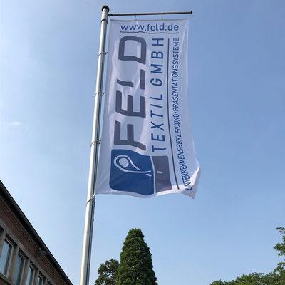 Werbefahne Hissfahnen bestellen bei Feld Textil GmbH Krefeld
