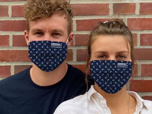 "Motiv ""Anker"" / ""GRIMASKE"" antivirale Atemschutzmaske - https://www.krawatten-tuecher-schals-werbetextilien.de/"