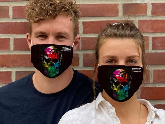 """Motiv """"Skull"""" / """"GRIMASKE"""" antivirale Atemschutzmaske - https://www.krawatten-tuecher-schals-werbetextilien.de/"""