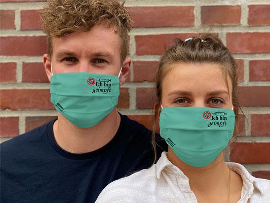 """Motiv """"Ich bin geimpft"""" / """"GRIMASKE"""" antivirale Atemschutzmaske - https://www.krawatten-tuecher-schals-werbetextilien.de/"""
