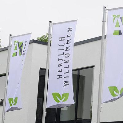 Werbefahne Hissfahnen bedrucken von Feld Textil GmbH Krefeld