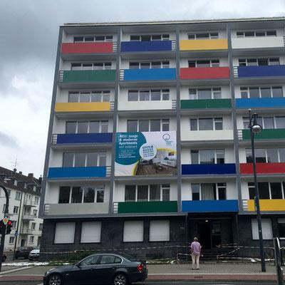 Werbebanner Fassadenwerbung Außenbereich PVC Mesh von Feld Textil GmbH Krefeld