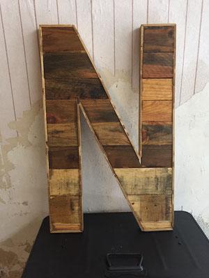 Lettre bois industrielle palette